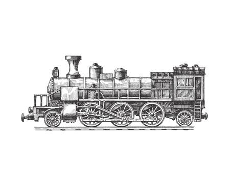 vendimia: Locomotora de vapor formato vectorial