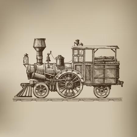 locomotora: Locomotora de vapor formato vectorial