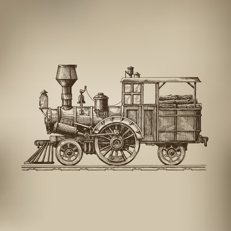 old train: Steam locomotive  Vector format