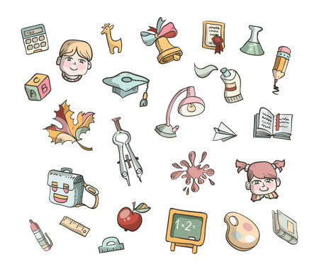 School elements icons Vector