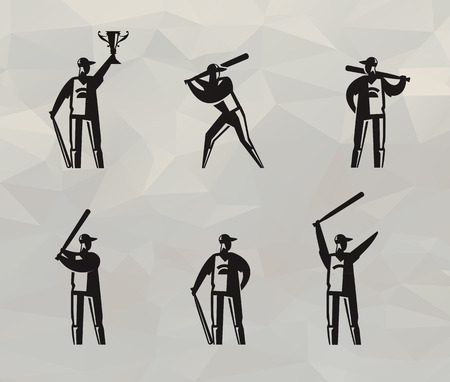 baseman: Baseball players  Vector format Illustration