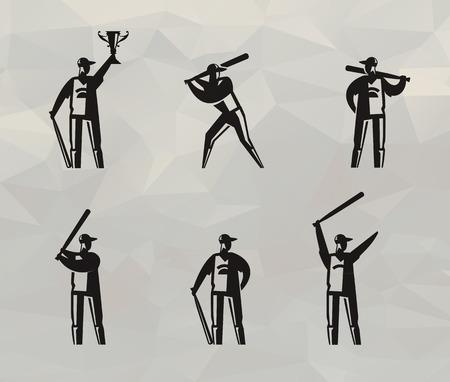 Baseball players  Vector format Illustration
