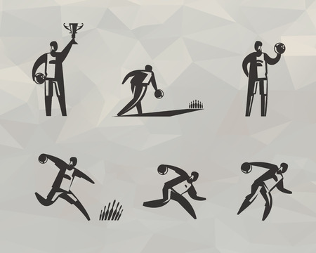 distraction: bowling icons set Illustration