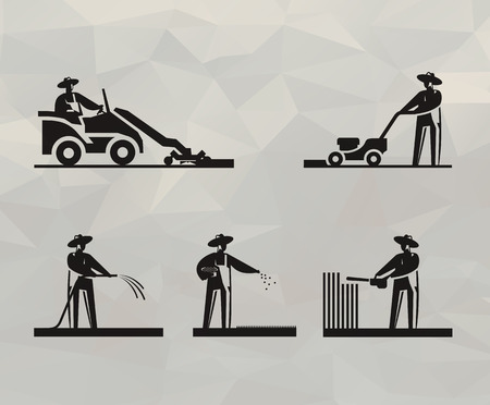 lawn mower: Lawn mower icons  Vector format