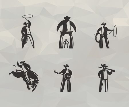 Cowboy icons  Vector format Illustration