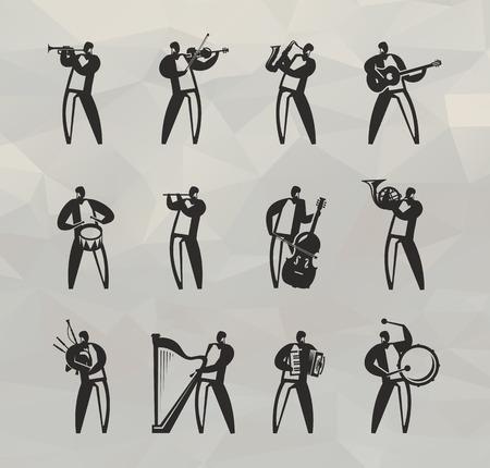 accordion: Musicians  Vector format Illustration