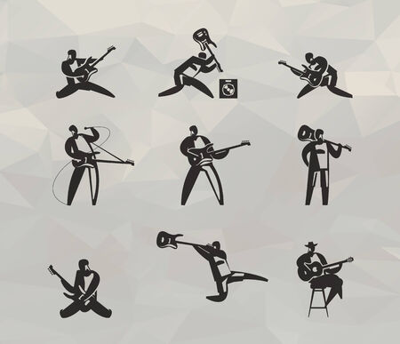 chanson: Musicians icons set  Vector format Illustration