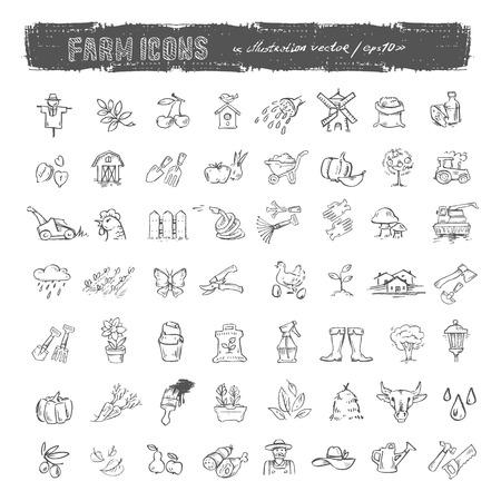 pumpkin seeds: Farm icons set  Vector format
