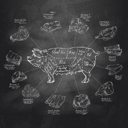 grilled pork: Định dạng Pig Vector