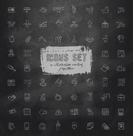 showering: Icons  set