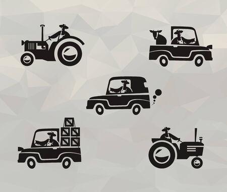 retro truck: Farm icons
