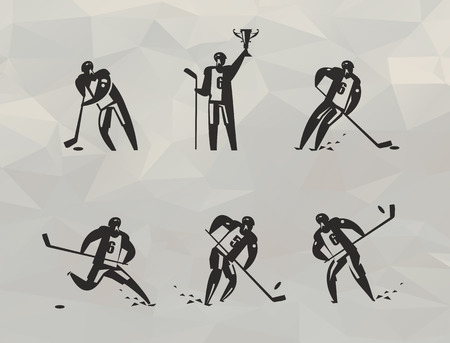 Hockey players icons  Vector