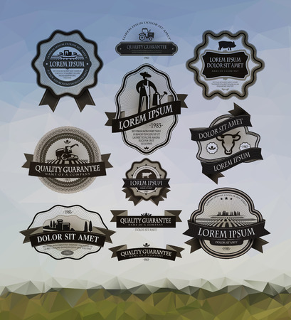 agriculture industry: Farm labels set Illustration