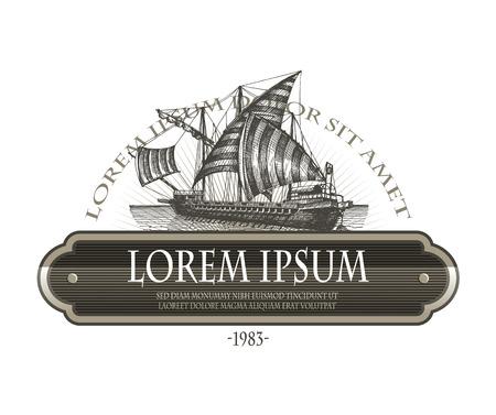 Ship label Vector