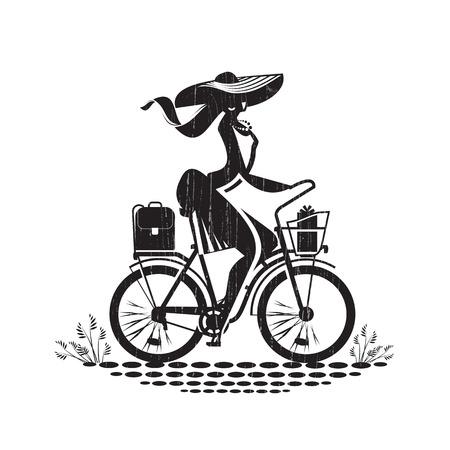 bike vector: Muchacha en la bici formato vectorial