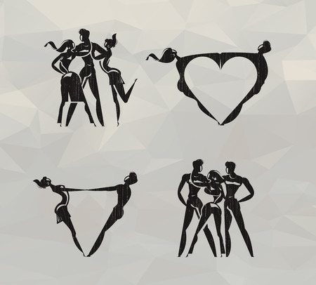 sexual couple: Love icons  Vector format