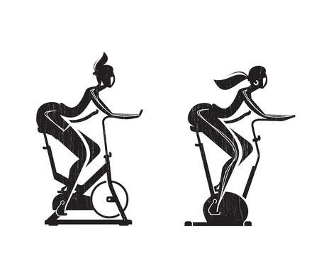 bicicleta vector: Muchacha en la bici formato vectorial