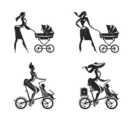 babysitting: Mother and child  Vector format Illustration