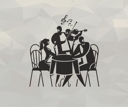 dinner date: Restaurant  Vector format Illustration