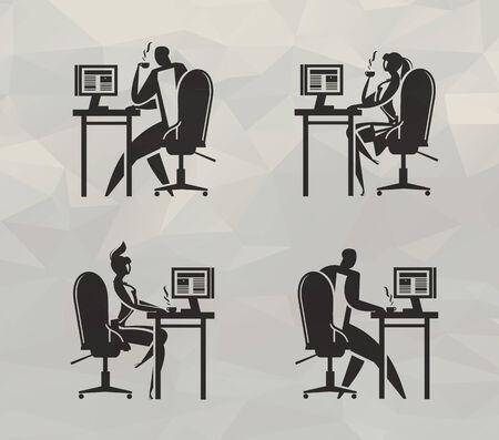 using computer:  Office  Vector format Illustration