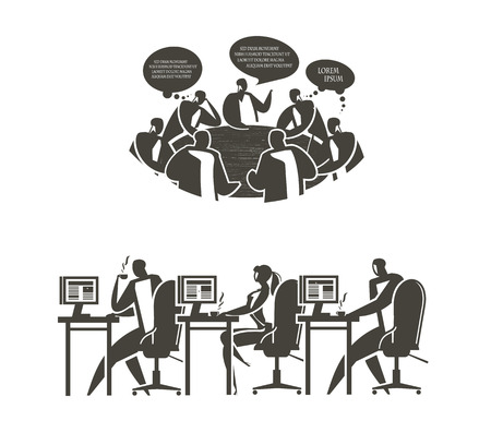 roundtable:  Office work  Vector format