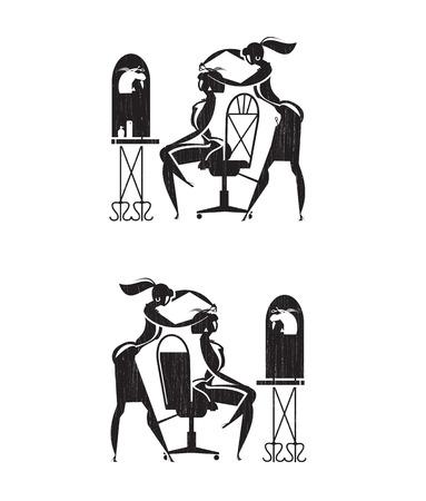 Barber icons  Vector format Vettoriali