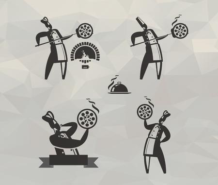 icônes de pizza de format Vector