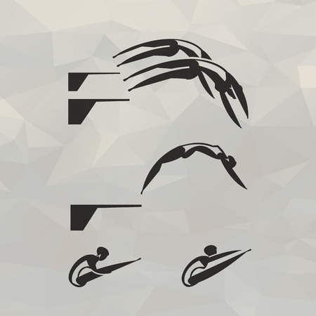pool diving: Swimmer icons  Vector format Illustration