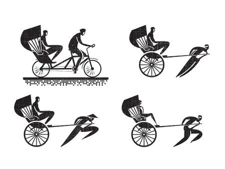 Rickshaw icons Vector