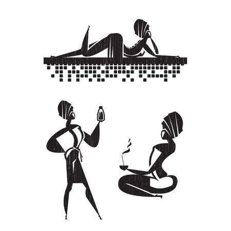 bamboo therapy: Women in Salon icons  Illustration