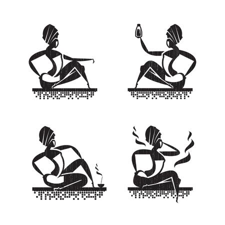 sauna: Women in Salon icons