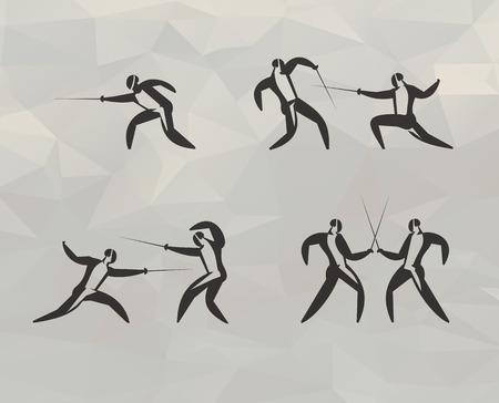 pentathlon: Fencing icons  illustration Illustration