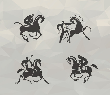 polo sport: Horse icons   Illustration