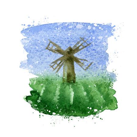 mill valley: Windmill. Vector format