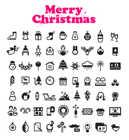 party poppers: Merry Christmas icons