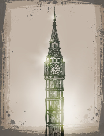 showpiece: Big Ben. Vector format Illustration