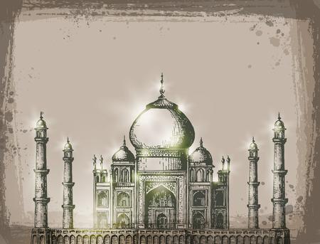 agra: Taj Mahal. Vector format Illustration