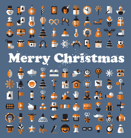 Merry Christmas icons. Vector format Vector