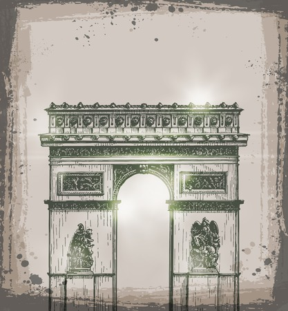 stone arch: Arch of Triumph, Paris. Hand drawn vector illustration. Vector format Illustration
