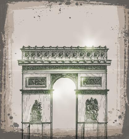 napoleon: Arch of Triumph, Paris. Hand drawn vector illustration. Vector format Illustration