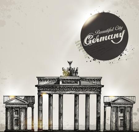 brandenburg: Brandenburg gate. Berlin arch symbol. Hand drawn pencil sketch vector illustration. Vector format