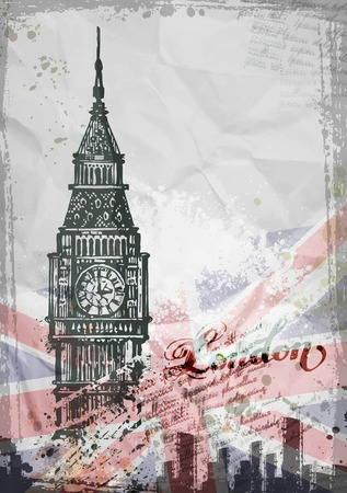 landmarks: Big Ben, London, England, UK. Hand Drawn Illustration. Vector format Illustration