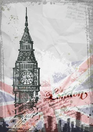 Big Ben, London, England, UK. Hand Drawn Illustration. Vector format Vectores