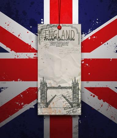 tower bridge: Tower Bridge, London, England, UK. Hand Drawn Illustration. Vector vintage background. Illustration