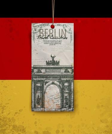 symbol hand: Berlin Bogensymbol. Hand gezeichnet Bleistiftskizze Vektor-Illustration, Vektor-Hintergrund