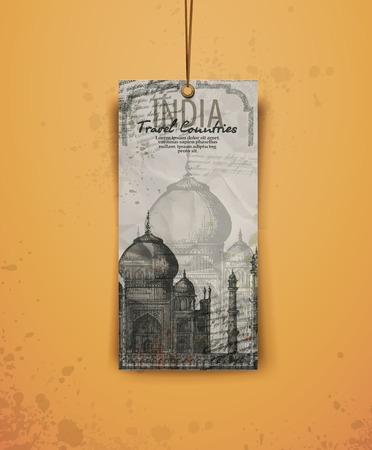 Taj Mahal. India. vintage hand drawn vector illustration. Vector format Vector