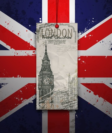 Big Ben Tower. London Landmark. Vector Hand-drawn Sketch Illustration. Vector format Vector