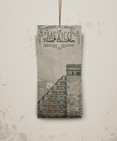Temple in Mexico.  Hand drawn sketch vector illustration. Vector format Иллюстрация