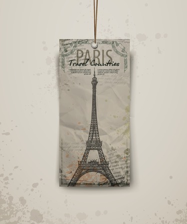 Eiffel tower vector illustration. Eiffel tower in Paris, post card in doodle style Vector