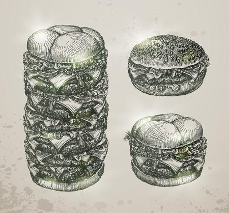 hamburger bun: Vintage fast food, hamburger. Hand drawn illustration. Vector format